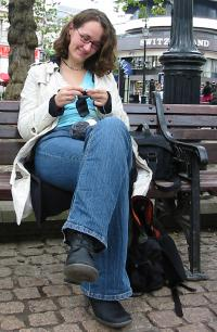 Knitting in Public, Leicester Square in London