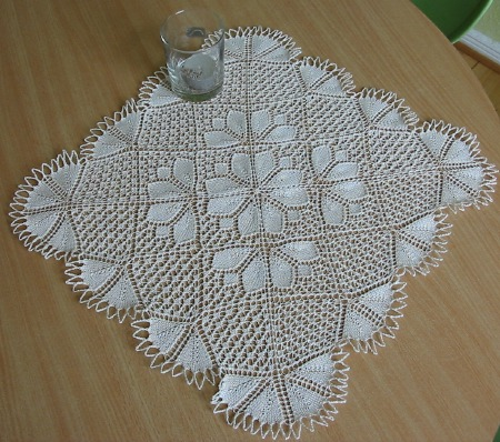 Springtime knitted doily