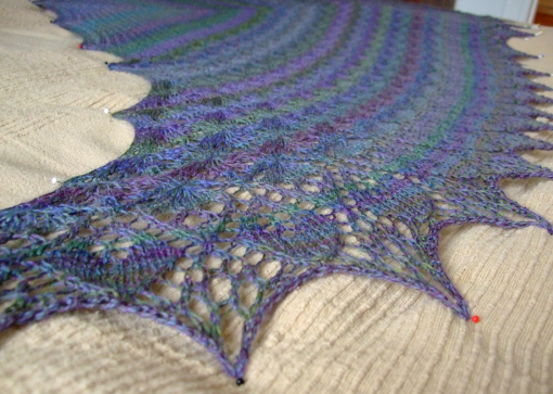 Laminiaria Shawl blocking