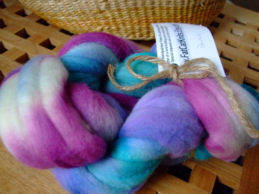 "Hand-dyed fiber from FatCatKnits in colorway ""Bewitch"""