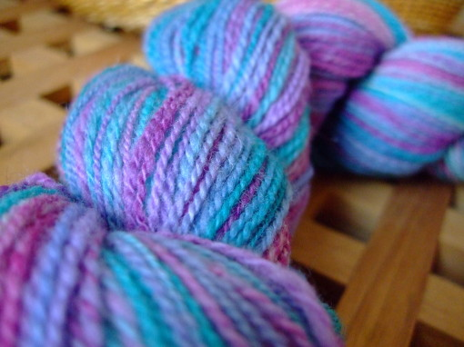 """Bewitch"", hand-spun fingering weight 2-ply yarn"