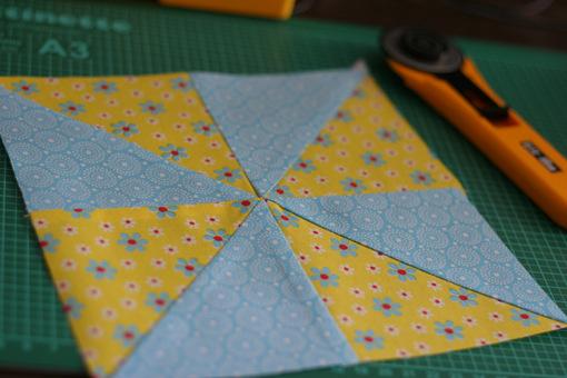 Windmill quilt pattern - one block