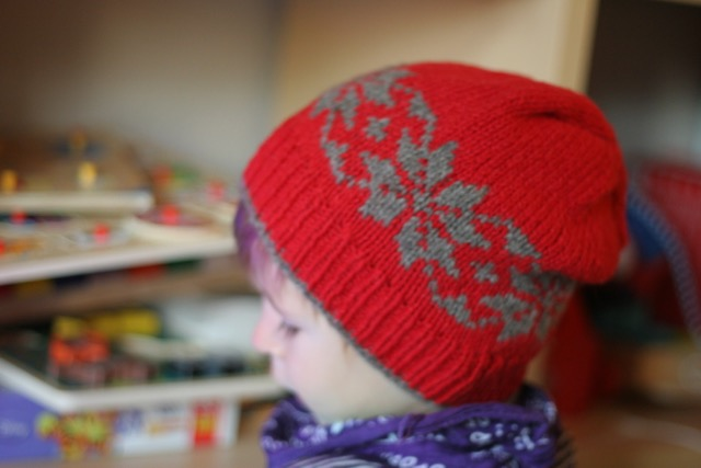 Snow Stars Hat red with brown stars - kid size