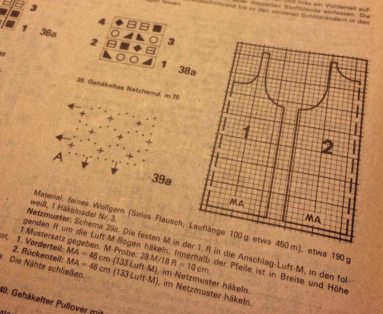 Anleitung zum Häkeln des Netzhemdes aus den 80ern