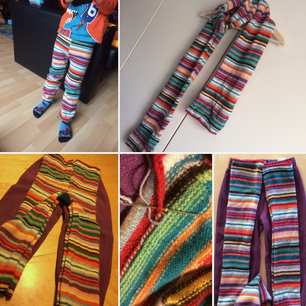 An old H&M wool scarf turned into a pair of funky striped pants for Mr. T