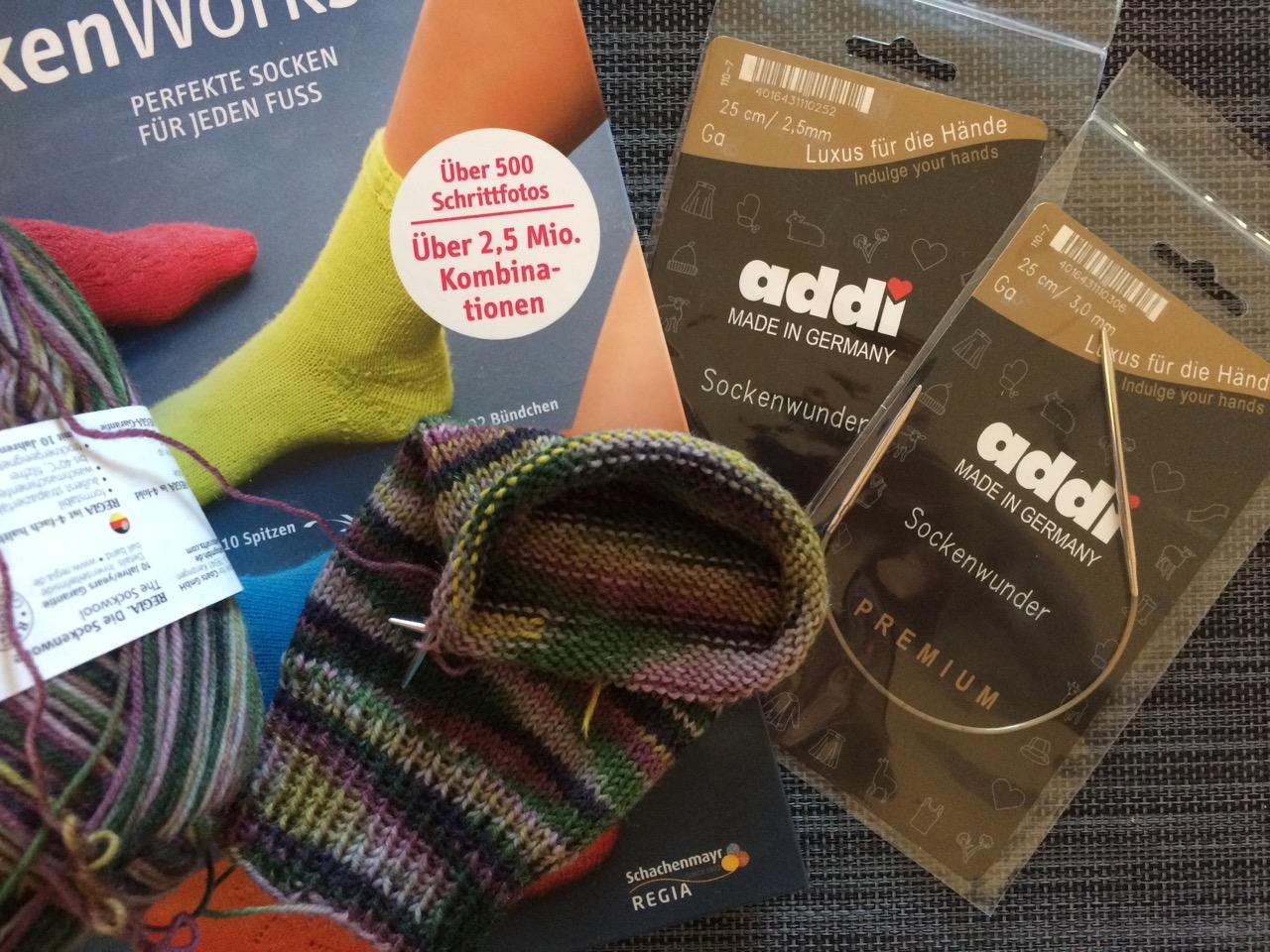 Socken stricken mit dem Addi Sockenwunder