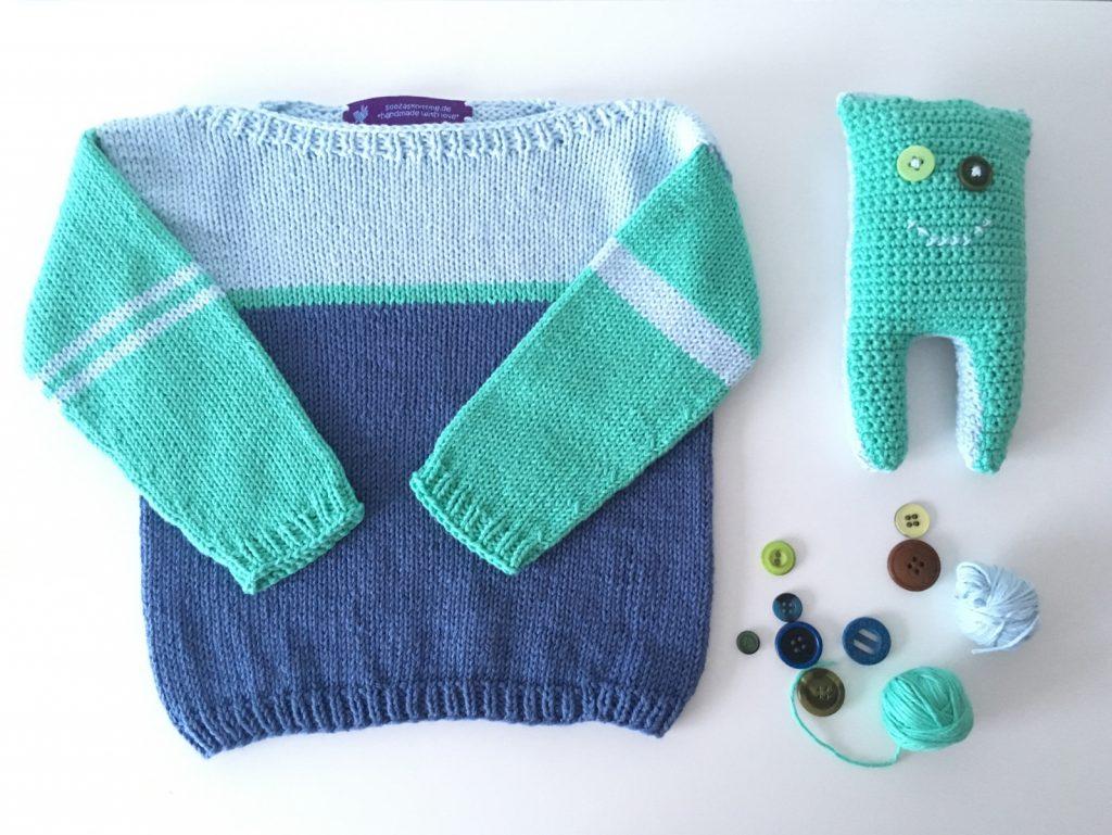 Babypullover und Monsterkuscheltier aus ricobaby cotton soft dk