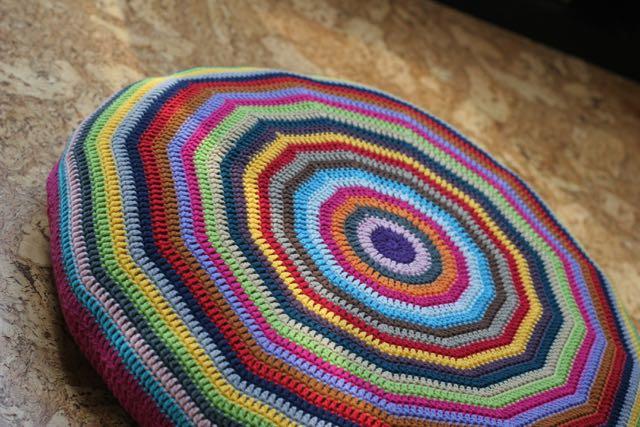 Crochet Flat Circle Cushion