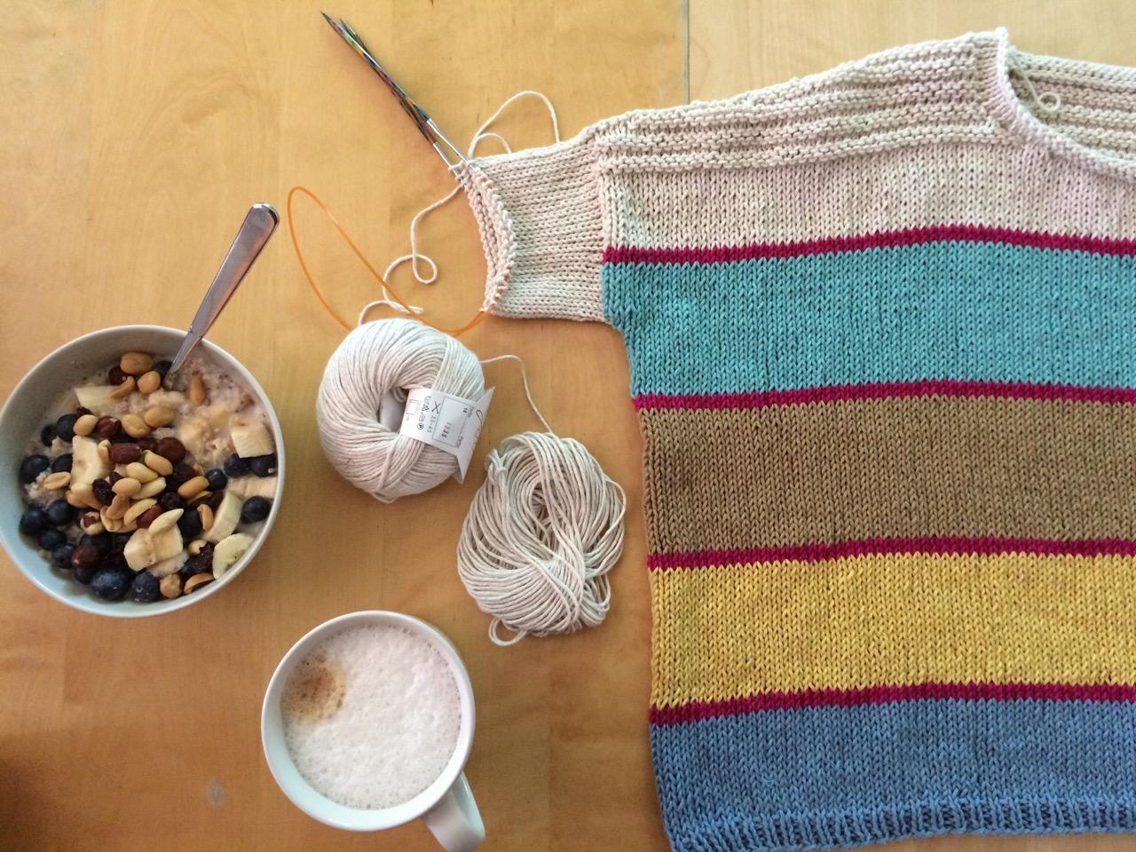 Boxy Pullover aus GGH Linova, Ärmel anstricken