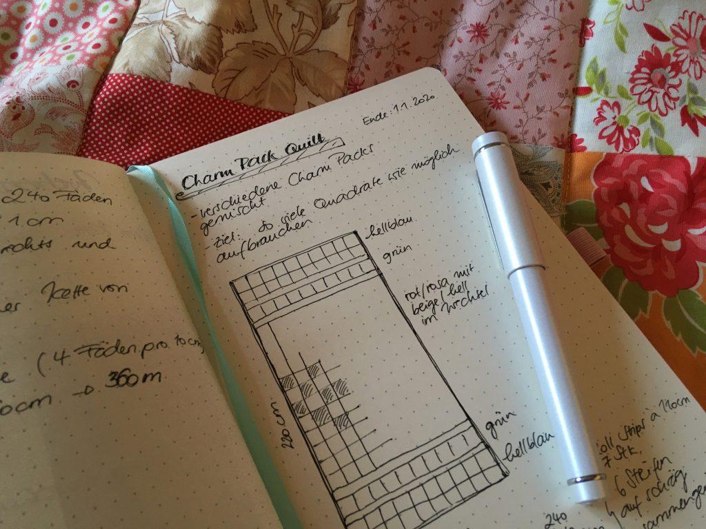 Musterzeichnung für den Charm Pack Quilt